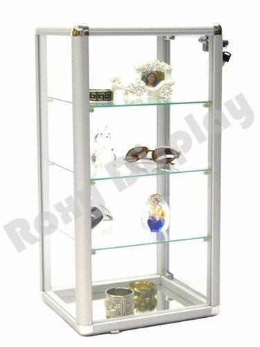 ROXYDISPLAY™ Counter Top Glass Aluminum Frame 27 Inch Tall Tower Display Showcase with Inside Mirrored Base and Front Lock #KDCAB