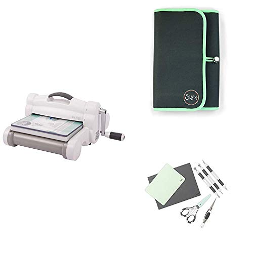 Sizzix Big Shot Plus Machine Bundle, Troquel, Kit de Escultura de Papel, Caja de Almacenamiento y cartulina