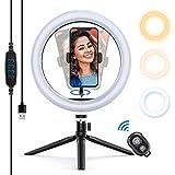 Yoozon LED Lumière Anneau avec Trépied, Ring Light avec Télécommande Bluetooth pour Smartphone/Photo/Youtube/Maquillage, Lampe Annulaire Réglable avec 3 Modes d'Eclairage et 10 Niveaux de Luminosité