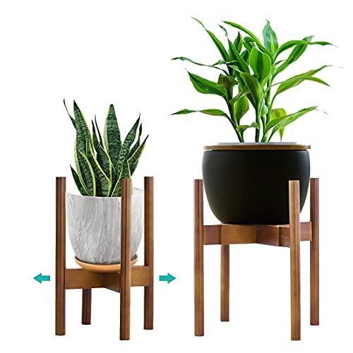 YEALEO Supporto Regolabile per Piante, da 21cm a 30cm Supporto per Fiori in bambù Moderno Supporto per fioriera per fioriera per Interni ed Esterni, Marrone-1 Pack