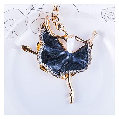 JSJJARF Llavero Fashion Bailarina Cristal Llavero Llavero Trinket Rhinestone Coche Llavero Cadena Bolsa Charm Llavero para Mujer Anillo Chicas Claves Coches Accesorios (Color : Black)