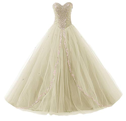 JAEDEN Wedding Sweetheart Long Quinceanera Dresses Formal Prom Dresses Ball Gown Champagne US2