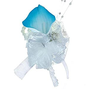 Lily Garden Artificial Wedding Floral Set Turquoise and White Calla Lily with Silver Ribbon and Bling (Island Blue Wrist Corsage)
