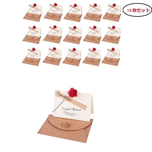 メッセージカード 花束 ローズ 15枚セット グリーティングカード 誕生日カード 記念日カード 祝いカード 感謝状 結婚式 卓上札花店 席札 おしゃれ お祝い 封筒 シール 付き (レッド)