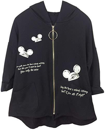 K-Milano Damen Kapuzenjacke Full Zip, Vokuhila, Maus Print, Hoodie Kapuzenpullover mit Taschen und Tunnelzug, Made in Italy