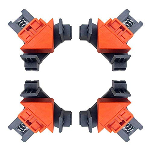 Clound city Angle Clamps, 4PCS Right Angle Fixing Clip,Multi-function woodworking right angle clamp Adjustable Swing Corner Clamp, Corner Clip Fixer for Welding, Wood-Working, Drilling,Making Cabinets