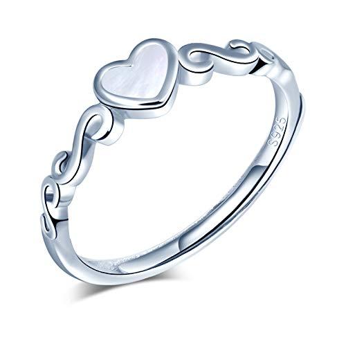 Yumilok Anillo de plata 925, anillo ajustable para mujer y niña, anillo de compromiso abierto, anillo de corazón, anillo de bodas, tamaño ajustable, fritillary con incrustaciones