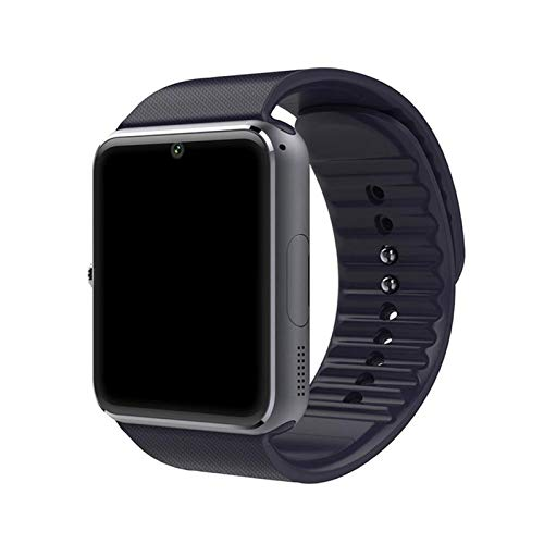 LYB Smart Watch Metal Strap Muñeca Bluetooth SmartWatch Soporte TF Card Android & iOS Watch Mulhibubes Muñequeras (Color : Black)