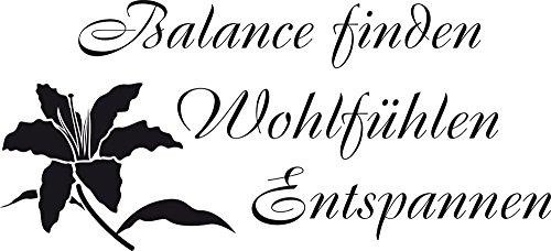 GRAZDesign Wandtattoo Wand-Spruch Balance Finden, Badezimmer-Tattoo an die Wand/Fliesen/Spiegel (88x40cm // 070 schwarz)