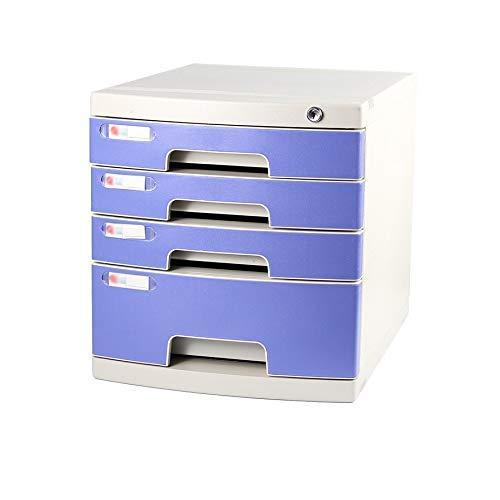 LHQ-HQ Desktop-Fach Sorter 4-Schicht mit Verschluss-Plastikschublade Informationsbüro A4 Lagerung Blau, 29,5 * 39,4 * 32,5 cm (Größe: 4-Schichten) Zeitungsständer