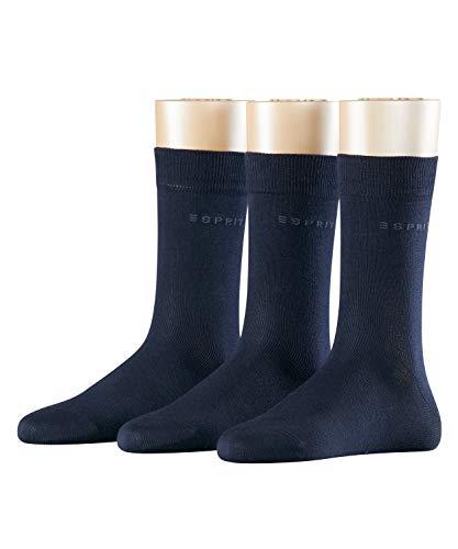 ESPRIT Damen Socken Uni - 80prozent Baumwolle , 3 Paar, Blau (Marine 6120), Größe: 36-41