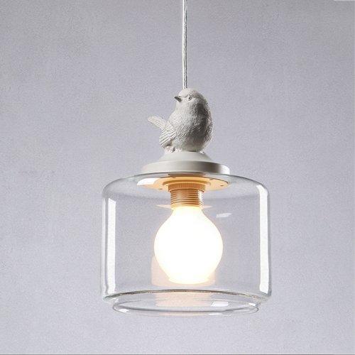 Modeen Luces Colgantes Creativas nórdicas Lámpara de Restaurante/Bar Habitación para niños/Club Lámparas Colgantes de Vidrio Moderno con iluminación para pájaros Lámpara de Techo Ajustable