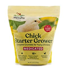 Complete crumble feed for chicks Complete crumble feed for chicks Medicated (with Amprolium) complete crumble for chicks for 0 to 8 weeks 18% Protein for weight gain and muscle development