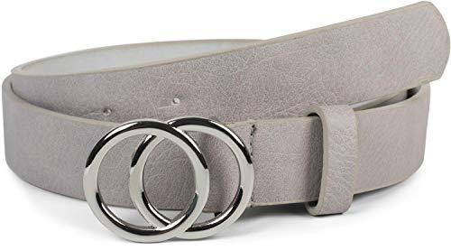 styleBREAKER Damen Gürtel Unifarben mit Ringschnalle, Hüftgürtel, Taillengürtel 03010093, Größe:80cm, Farbe:Hellgrau-Silber