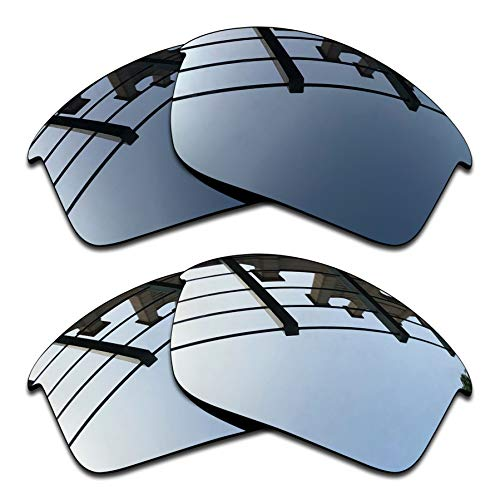 SEEABLE Premium Polarized Mirror Replacement Lenses for Oakley Flak Jacket Sunglasses - Black Chrome Mirror+Silver Mirror