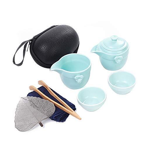 ZJSXIA Conjunto de té Juego de té Gaiwan Vajilla Negra Cerámica Tetera té Tazas Un Juego de té Conjuntos de té de Viaje portátiles con Bolsa de Viaje Juego