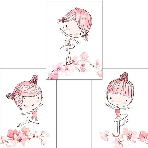 LALELU-Prints | A4 Bilder Kinderzimmer Poster | Zauberhafte Ballerina Ballett rosa | Babyzimmer Deko Mädchen | 3er Set Kinderbilder (DIN A4 ohne Rahmen)