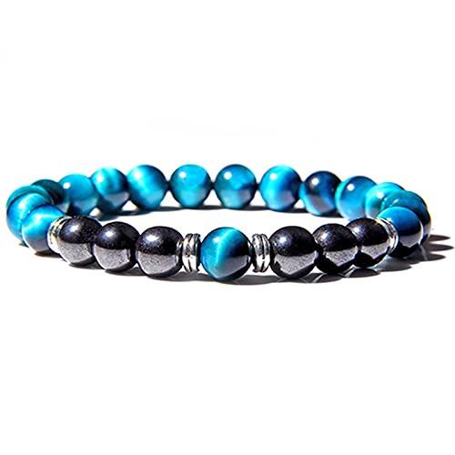 Piedra de ojo de tigre azul real natural y cuentas de ónix negro Pulsera Hombres Joyas Cuerda elástica Hombres Mujeres Yoga Meditación Charm Pulsera Longitud 21Cm