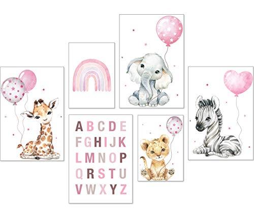 artpin® Poster Set DIN A3 Bilder Kinderzimmer Deko Mädchen Junge - Babyzimmer Bilderwand 4X A3 & 2X A4 - Regenbogen ABC Safari Tiere Rosa P71