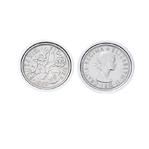Genuine Polished Lucky Sixpence Cufflinks | 1959 coins, 61st birthday present, Gift Boxed, 1959 Anniversary
