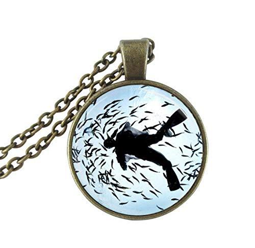 Collar de buceo con colgante de cristal con cadena de bronce sin cuello