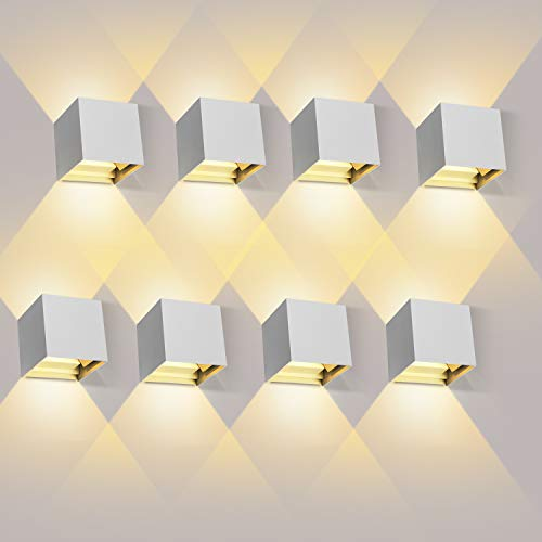 ledmo 8 Pezzi 12W Lampada da Parete LED Bianco caldo 3000K Applique da Parete interno/esterno Moderno Lampada da Muro Applique cubo in alluminio IP65 Impermeabile Bianco