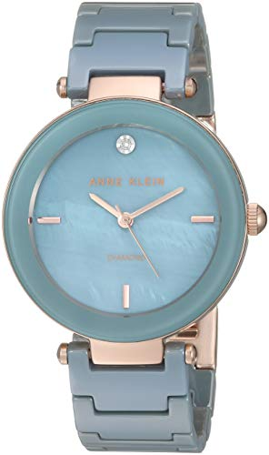 Anne Klein Women's AK/1018RGLB Diamond-Accented Rose Gold-Tone and Light Blue Ceramic Bracelet Watch
