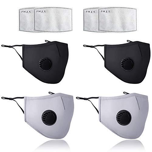 4 masker-tvättbara-med andningsventil - Mask-Skyddsmask-Återanvändbar bomull mask(Gratis pm2.5-filter)