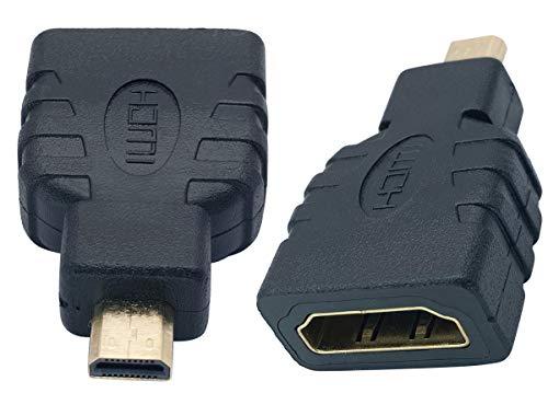AAOTOKK Adaptador Micro HDMI a HDMI,Micro-HDMI (Tipo-D) Macho a HDMI (Tipo-A) Hembra Conector para Dispositivos de Puerto Micro HDMI Compatible con 3D,4K,Resolución 1080P(2 Unidades/Micro)
