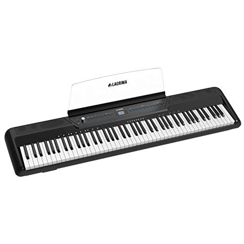 LAGRIMA LAG-560 Full Size Weighted Key Portable Digital Piano, 88 Key Electric Keyboard Piano for Beginner/Adults with Bluetooth, Headphone, Sustain Pedal, Power Supply, Music Stand, Black(No Stand))
