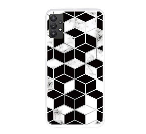 ChoosEU Compatible con Funda Samsung Galaxy A32 5G Silicona TPU Case Antigolpes Bumper Cover Caso Protección, Dibujos Mármol Creativa Carcasas para Chicas Mujer Hombre - Blanco Negro