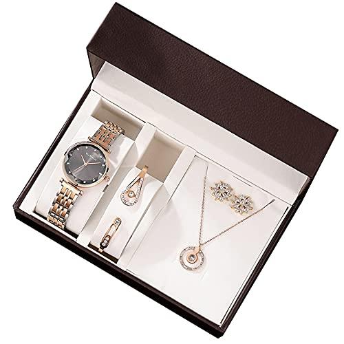 YIBOKANG Reloj De Cuarzo Resistente Al Agua con Diamantes De Imitación Simple De Lujo Ligero para Mujer De 4 Piezas con Exquisito Conjunto De Reloj De Pulsera, Colgante, Collar Y Pendiente