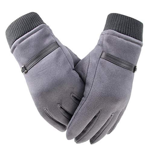 Miwaimao Suede hombres guantes pantalla táctil invierno grueso coral terciopelo antideslizante a prueba de viento hombres al aire libre guantes de conducción
