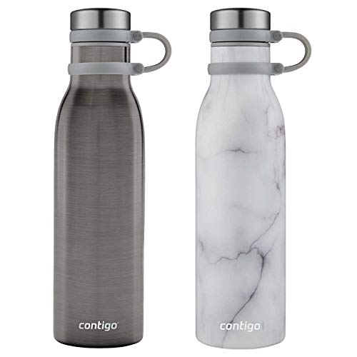 Couture THERMALOCK Botella de agua de acero inoxidable con aislamiento al vacío, 20 oz paquete de 2 colores