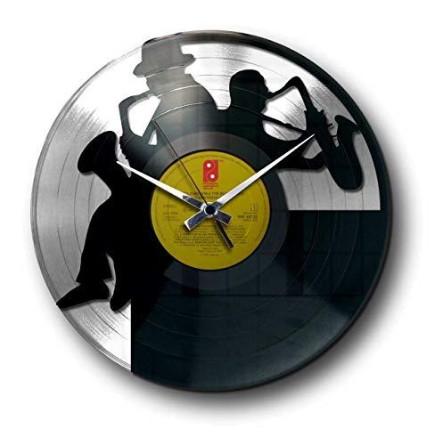 DISCOCLOCK - DD052SB - SAX - Wanduhr aus Vinyl Schallplattenuhr mit Jazz Blues Saxophonist Motiv Upcycling Design Uhr Wand-Deko Vintage-Uhr Retro-Uhr MADE IN ITALY - SCHNELLE LIEFERUNG 24 UHR!