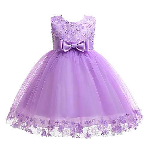 Weileenice Halloween Big/Little Girl Flower Lace A-line Party Dresses Christmas Evening Party Ceremony Fancy Princess Bridesmaid Wedding Kids Ball Gown (3-4 Years/Label 6, 314-PE) Purple Glitter