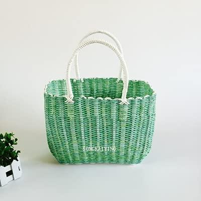 XKMY Cesta de baño tejida de plástico, cesta de la compra de frutas y verduras, cestas para mascotas, cestas de baño (color claro)