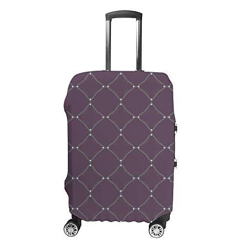 Funda de equipaje gruesa lavable con patrón geométrico azul de fibra de poliéster elástica, plegable, ligera, protector de maleta de viaje
