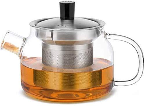 Bouilloire induction Théière transparente avec infuseur Verre résistant à la chaleur Grande plaque de cuisson en acier inoxydable 470ml pour bureau à domicile extérieur WHLONG