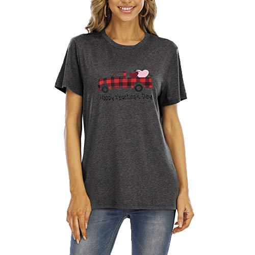 SLYZ Mujeres Europeas Y Americanas De Verano De Manga Corta con Estampado De Personalidad De Moda Cuello Redondo Camiseta De Mujer
