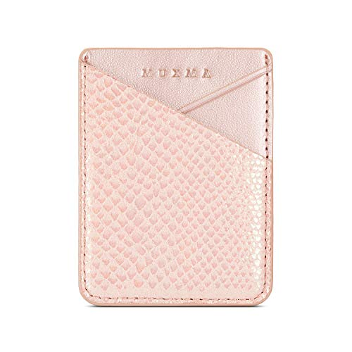 Fusicase Phone Card Holder Wallet Sticky Phone Wallet PU Leather Wallet with Glossy Holographic Gradient Ramp Snake Skin Design Pocket Pouch Sleeve Slim Sticky Wallet for Back of Phone Case Rose Gold