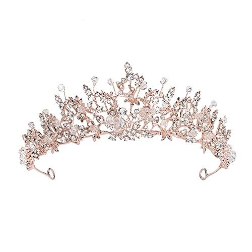 Corona de novia de princesa, tiara de flores de cumpleaños para niñas,...