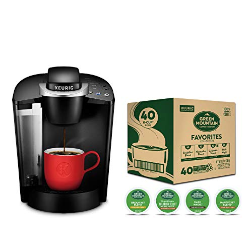 Keurig K-Classic Coffee Maker with Green Mountain Coffee Roasters Favorites Collection Variety Pack, 40 Count