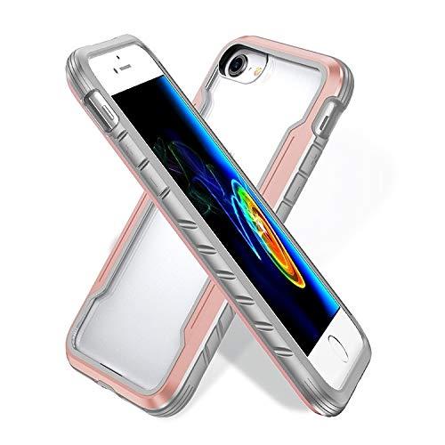 JIAHENG Caja del teléfono for iPhone SE 2020/8/7 Blade Metal Clear PC + TPU Funda Protectora a Prueba de shoc Cubierta de Cuero (Color : Rose Gold)