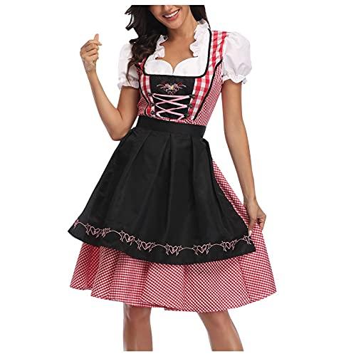 XUEbing Disfraz de Halloween para mujer Oktoberfest vestido de esculpir cuerpo etapa disfraz de criada de cintura alta, Negro, XL