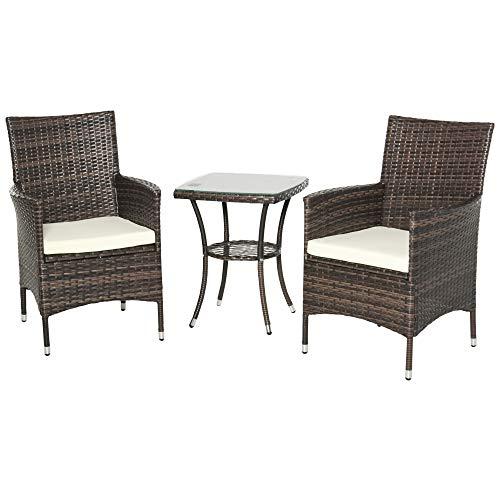 sedie da giardino outsunny Outsunny Set Mobili da Giardino Rattan Set Arredamento Giardino 3pz Tavolo con 2 Sedie con Cuscini Marrone