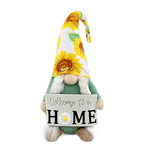 Gehydy Summer Gnomes Sunflower Handmade Plush Garden Farmhouse Decoration 2021 New Holiday Tomte Ornaments Gift for Home Kitchen Tiered Tray - 15 Inch