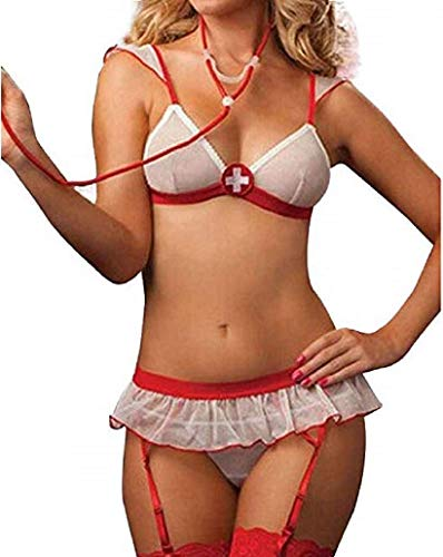 NAVARCH Femme Infirmière Sexy Lingerie Coquine Infirmière Uniforme Sexy Tenue Infirmiere Deguisement Femme Cosplay Sexy Costume Infirmière avec Chambre Cosplay Nurse Costumes