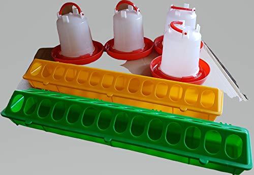Tradex Futtertrog Wachtel/Küken 50 cm Plus 4 Stülptränken 0,8 L