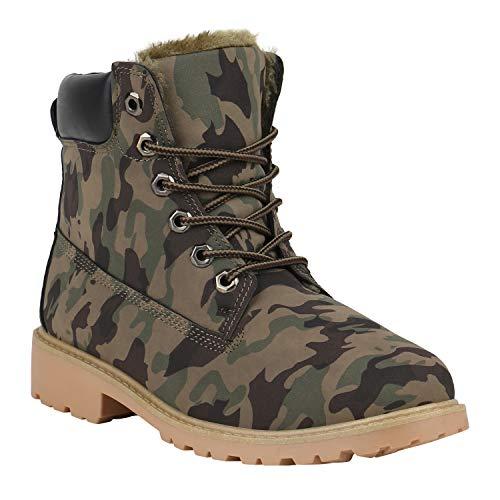 Warm Gefütterte Worker Boots Damen Schuhe Outdoor Stiefeletten Robust 152286 Camouflage Avelar 39...